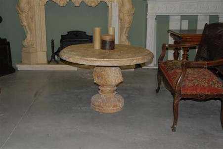"TRAVERTINE MARBLE COFFEE OR WINE TABLE, 39"" WIDE, LION CARVINGS"
