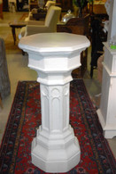 ANTIQUE WHITE GOTHIC CHURCH PEDESTAL IN PLASTER, VERY LARGE & IMPRESSIVE