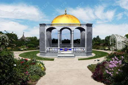 PALATIAL SOLID MARBLE GARDEN GAZEBO WITH FLORAL MEDALLIONS AND DOMED CEILING