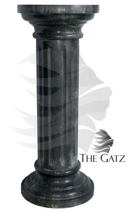 """ROUND TOP MARBLE PEDESTAL, FLUTED SHAFT, BLACK MARBLE 31.5"""" TALL"""