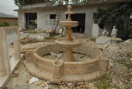 TWO TIER SOLID MARBLE FOUNTAIN AND SURROUND, PINEAPPLE FINIAL TOP, BASIN INCLUDED, LARGE