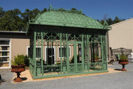 LARGE GARDEN GREEN HOUSE OR CONSERVATORY, CAST IRON CONSTRUCTION, ENGLISH STYLE