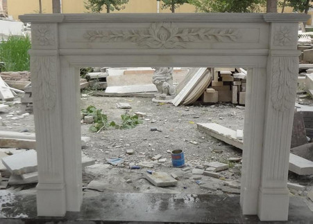 HAND CARVED MARBLE FIREPLACE MANTEL, TRADITIONAL DESIGN, SIMPLE & ELEGANT Measures: 55 wide x 43.25 tall x 10 deep. Opening Measures: 35.5 wide x 30.75 tall.