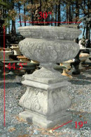 """We are offering this new victorian urn with pedestal. The urn and pedestal are made from cast concrete. They measure: 44.5\\\""""H"""