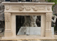 CARVED MARBLE FIREPLACE MANTEL FEATURING CARVINGS AND ROSETTES IN EGYPTIAN BEIGE