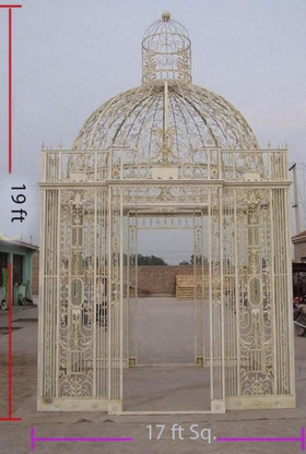 CAST IRON GARDEN GAZEBO OR CONSERVATORY, SQUARE WITH DOMED TOP