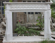 CLASSIC MARBLE FIREPLACE MANTEL, WHITE WITH GRAY VEINING , ELEGANT DESIGN