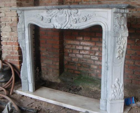 ELEGANT FRENCH DESIGN MARBLE FIREPLACE MANTEL