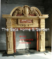 IMPRESSIVE HEAVILY CARVED TWO TONE MARBLE FIREPLACE MANTEL Measures: 7.2 feet wide x 7.9 feet tall x 15 inches deep. Opening is 43 wide x 42.6 high.