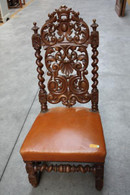 ANTIQUE FRENCH RENAISSANCE CHAIR IN OAK CIRCA 19TH CENTURY, NICE CARVED BACK WITH LATHER SEAT