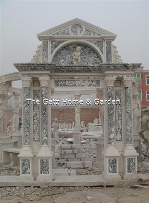 "ENORMOUS MARBLE DOOR ENTRY FEATURES MULTIPLE COLOR TONES AND CUSTOM DESIGN, 116' WIDE X 154"" TALL"