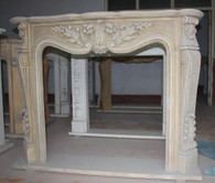 CLASSIC FRENCH DESIGN HAND CARVED MARBLE FIREPLACE MANTEL, ACANTHUS RELIEFS AND FLORAL SWAGS