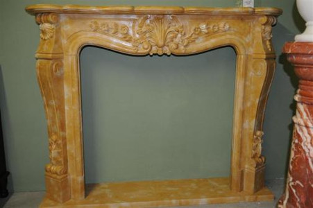 HAND CARVED MARBLE FIREPLACE MANTEL, FRENCH DESIGN IN HENAN YELLOW Measures: 4.feet 9 inches wide x 3 feet 9 high x 10 inches deep, Inside approx. 37 1/4 wide x 35 1/4 high