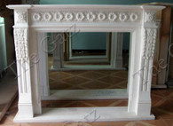 MARBLE FIREPLACE MANTEL WITH FLORAL CARVINGS, CLASSIC STYLE IN WHITE MARBLE Measures: 59.1 wide x 47.3 tall x 11.8 deep. Opening measures: 37.8 wide x 35 tall
