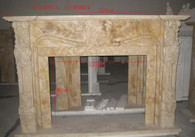 HAND CARVED TRAVERTINE FIREPLACE MANTEL, FRENCH DESIGN