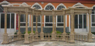 LARGE CURVED MARBLE PERGOLA ARCH ENTRY, GOOD TRELLIS, 26 FT WIDE