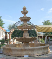 LARGE FOUR TIER TRAVERTINE WATER FOUNTAIN WITH BASIN SURROUND, OLD WORLD DESIGN