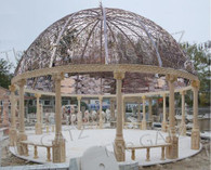 "LARGE ENORMOUS EGYPTIAN BEIGE MARBLE GARDEN GAZEBO, 183"" TALL X 29 FEET WIDE"