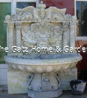 "HAND CARVED MARBLE WALL FOUNTAIN, LARGE WIDE BOWL CLASSIC OLD WORLD DETAIL 63"" WIDE"