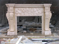 CUSTOM DESIGNED MARBLE FIREPLACE MANTEL FROM FEATURING, FLORAL BOUQUET CARVINGS