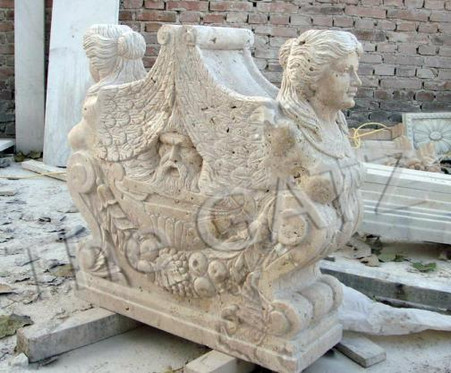 """HEAVILY CARVED FIGURAL MARBLE VICTORIAN TABLE BASE 29.5"""" TALL"""