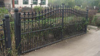 MARVELOUS NEW CAST IRON ESTATE GATE SYSTEM, LOW PROFILE, 152 INCHES WIDE AND 58 TALL