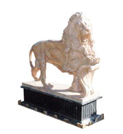 Pair of Marvelous Marble Lions on Bases, Lions are standing with Foot on Shield Shield