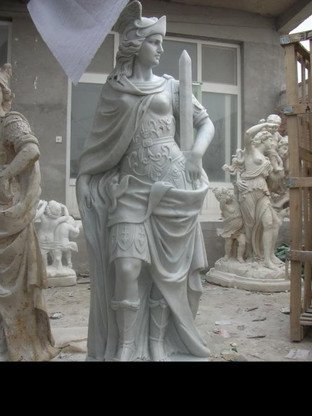 """Matching Pair of  Marble Roman Guard Statues, 84"""" Tall"""