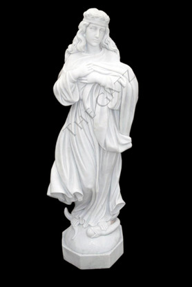 CUSTOM MARBLE RELIGIOUS STATUE OF VIRGIN MARY WITH HEAVILY CARVED FLOWING ROBE IN WHITE MARBLE