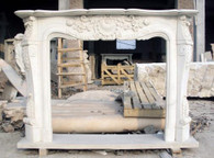 HAND CARVED FRENCH STYLE WHITE MARBLE FIREPLACE MANTEL