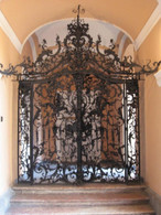 ORNATE VICTORIAN GATE MADE OF CAST IRON WITH EXQUISITE FLORAL VINE DETAIL, OVER 11 FEET TALL AT 136""