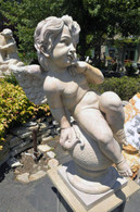 "WONDERFUL HAND CARVED MARBLE CHERUB ON BALL, QUYANG YELLOW 38"" TALL"
