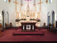"""RELIGIOUS ALTAR IN OAK AND WHITE MARBLE 72"""" WIDE Measures: 72 wide x 30 deep x 40 high"""