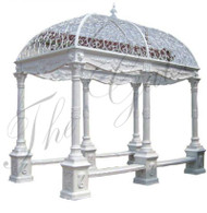 RECTANGULAR CAST IRON GAZEBO INCLUDING WROUGHT IRON DOME & BENCH SEATING