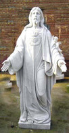 HAND CARVED MARBLE STATUE OF JESUS WITH A SACRED HEART