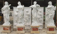 "GORGEOUS SET OF 4-FOUR SEASON STATUES PLAYING AN INSTRUMENT, HAND CARVED MARBLE 90"" TALL"