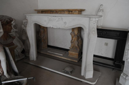 Hand carved marble fireplace mantel. French styling with minimal details for a fresh, clean, yet elegant look. Dimensions: Whole size is L: 79.5 x H: 55.1 x W: 13.8 (Inches), Opening is L: 55.9 x H: 41.3 (Inches).  Before purchasing, please contact us for availability and shipping quote.