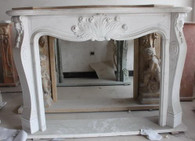 Hand carved marble fireplace mantel. French styling with minimal details for a fresh, clean, yet elegant look. (Same as 10-07436 with different dimensions)  Dimensions: Whole size is L: 72.8 x H: 52.4 x W: 13.4 (Inches), Opening is L: 49.8 x H: 31.2 (Inches).  Before purchasing, please contact us for availability and shipping quote.