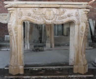 ELEGANT HAND CARVED BEIGE MARBLE FIREPLACE MANTEL, FRENCH DESIGN