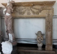 ELEGANT BEIGE MARBLE FIREPLACE MANTEL, FRENCH INFLUENCE ON CARVINGS