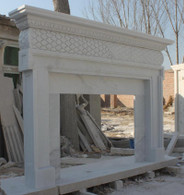 "HAND CARVED FIREPLACE MANTEL SIMPLE DESIGN IN WHITE MARBLE Dimensions: 81"" wide x 54"" tall x 10"" deep. Opening: 42"" wide x 30"" tall. 7"" framing border"