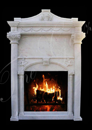 "Marble Fireplace MantelSurround with Overmantel. Includes Elegant Design, 98"" Tall"