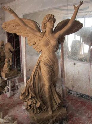 """LARGE HAND CARVED MARBLE ANGEL STATUE, NICE CHURCH OR CEMETERY STATUE 77"""" TALL"""