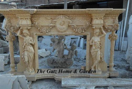 LARGE & ELEGANT HAND CARVED MARBLE FIREPLACE MANTEL, FIGURAL, COLUMNS AND SWAGS Measures: 114 Wide x 67.7 High x 16.6 deep: Opening 48 Wide x 36 High