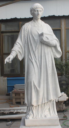 "LARGE CHURCH STATUE; CLASSIC RENDERING OF ST. LAWRENCE OF ROME, MARBLE, RELIGIOUS 74"" TALL"