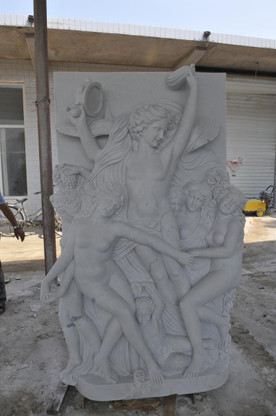 HAND CARVED WHITE MARBLE GARDEN STATUE OF 6 WOMEN CELEBRATING