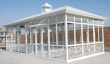 CAST IRON GARDEN CONSERVATORY, GREEN HOUSE OR PAVILION, ENCLOSED AND OPEN AREAS, SOLID ROOF