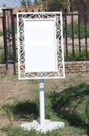 "CAST IRON BUSINESS SIGN ON PEDESTAL 62"" TALL"