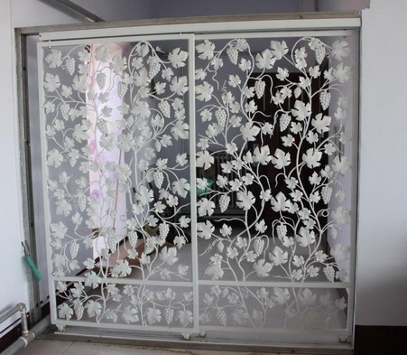 CAST IRON SLIDING DOOR ENTRYWAY OR DIVIDER, GRAPE PATTERN