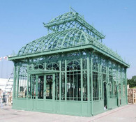LARGE CAST IRON GARDEN GREEN HOUSE OR CONSERVATORY, TEMPERED GLASS INCLUDED , VICTORIAN STYLE